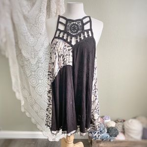 FREE PEOPLE | Cage Mix Fabric Boho Eyelet Dress